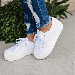 Steve Madden White Platform Sneakers